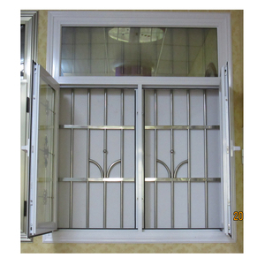 Aluminum casement window with anti shef grill