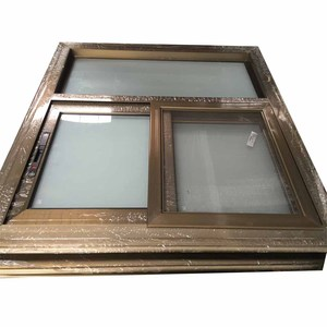 Size customized aluminium frame frosted glass sliding window for toilet