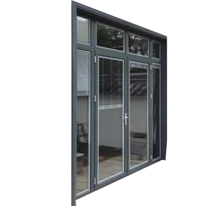 Gray aluminum french door